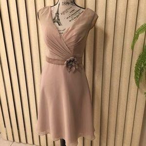 NWT! MODERN MAIDS BEIGE FORMAL SHORT DRESS SIZE 8
